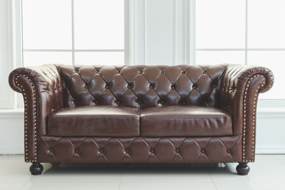 Antique, brown leather sofa